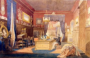 Cotroceni Palace - Painting of Carol I sitting at his desk.