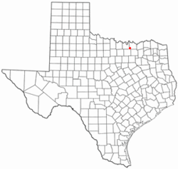 Location of Tioga, Texas