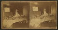 Table set with a wedding cake and fruits, Victor, Iowa, by Coon & Mossetter.png