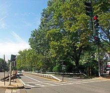 A four-lane road divided by a metal guardrail with trees on the right side and traffic signals, currently red, in the upper right-hand corner