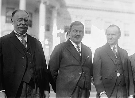Supreme Court Justice (and former U.S. President) William Howard Taft, Mexican President Plutarco Elias Calles and U.S. President Calvin Coolidge at the White House, 1924: Although future-president Elias Calles' involvement in settling the Ambos Nogales dispute was small when compared to his later accomplishments, it was indicative of the Sonoran leader's growing stature in Mexican politics during the 1910s and '20s. Taft, Calles, Coolidge.jpg