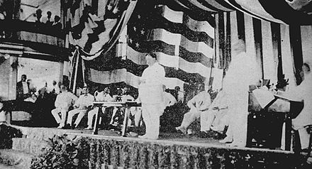 Governor General William Howard Taft addressing the audience at the Philippine Assembly in the Manila Grand Opera House Taft Addressing First Philippine Assembly 1907.jpg