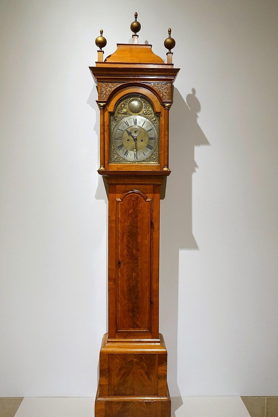 Tall case clock, Benjamin Bagnall, Sr., Boston, Massachusetts, 1730-1745, walnut, maple, beech, cedar, brass, glass, paint - Dallas Museum of Art - DSC04743