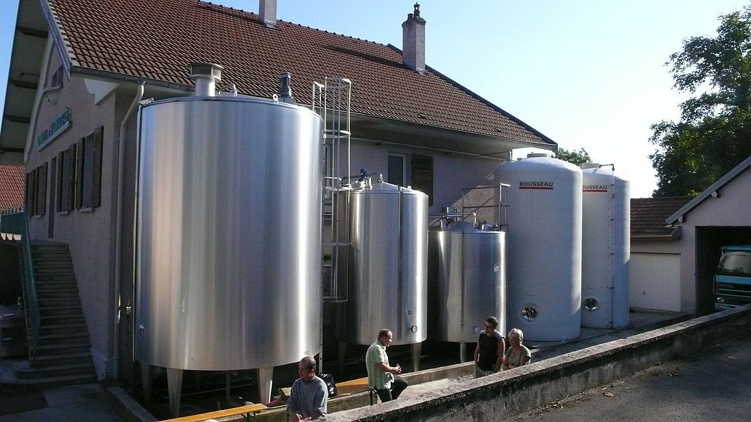 Bulk tanks at the dairy of Fontain