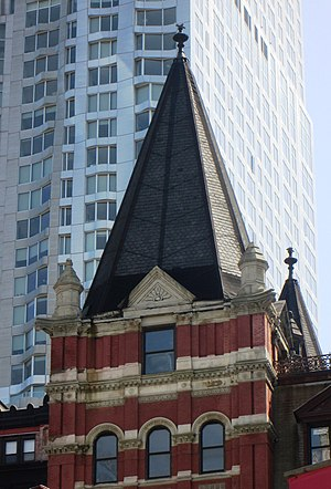 Temple Court Building and Annex - One of the building's pyramidal peaks