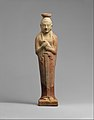 Terracotta alabastron (perfume vase) in the form of a woman holding a dove MET DT11986.jpg