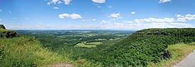 A panorama from the overlook on a mostly sunny summer day