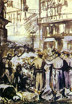 English: Edouard Manet. The Barricade (Civil W...