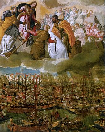 The Battle of Lepanto by Paolo Veronese (c. 1572, oil on canvas, 169 x 137 cm, Gallerie dell'Accademia, Venice). - Miguel de Cervantes