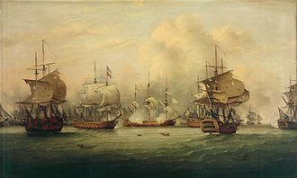 Battle of Dogger Bank (1781) by Thomas Luny. The Battle of the Dogger Bank 5 August 1781.jpg