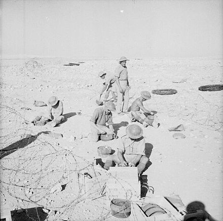 Troops of the King's Own Royal Regiment (Lancaster) laying a minefield, Egypt, 30 October 1940 The British Army in North Africa E943.jpg