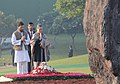 The Chairperson, National Advisory Council, Smt. Sonia Gandhi and the Member Parliament Shri Rahul Gandhi paying homage at the Samadhi of former Prime Minister, Late Smt. Indira Gandhi, on her 96th Birth Anniversary.jpg