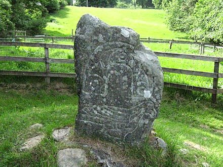 Clach an Tiompain(also known as the Eagle Stone), a Class 1 Pictish symbol stone in Strathpeffer