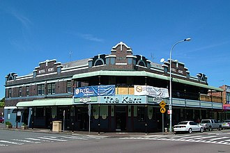 Hamilton, New South Wales - The Kent Hotel, est. 1924, is a landmark on Beaumont Street
