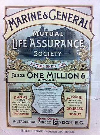 The Marine and General Mutual Life Assurance Society - Note the Chair of Sir Thomas Sutherland