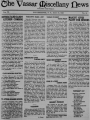 """An all-text newspaper broadsheet with the flag reading """"The Vassar Miscellany News"""""""