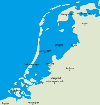 Map illustrating areas of the Netherlands below sea level The Netherlands compared to sealevel.png