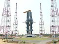 The PSLV – C6 on its mobile pedestal after having been strapped to launch tower at Sriharikota on May 1, 2005 (1).jpg