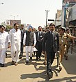 The Prime Minister, Dr. Manmohan Singh visits the bomb blast site, at Dilsukhnagar, in Hyderabad on February 24, 2013. The Chief Minister of Hyderabad, Shri Kiran Kumar Reddy is also seen (1).jpg