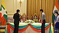 The Prime Minister, Shri Narendra Modi and the State Counsellor of Myanmar, Ms. Aung San Suu Kyi witnessing the exchange of agreement, at Presidential Palace, in Nay Pyi Taw, Myanmar on September 06, 2017.jpg