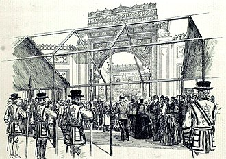 "Colonial and Indian Exhibition - ""The Queen Opening the Colonial and Indian Exhibition: Procession passing the principal entrance to the Indian Palace"", The Illustrated London News, May 1886."