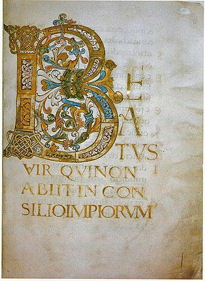 Beatus vir - Beatus initial, f.4, start of Psalm 1 in the 10th-century Anglo-Saxon Ramsey Psalter