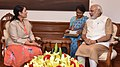 The Secretary of State for International Development, United Kingdom, Ms. Priti Patel calling on the Prime Minister, Shri Narendra Modi, in New Delhi on August 13, 2016 (1).jpg