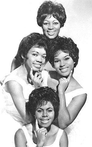 "Rock music - The Shirelles in 1962. Clockwise from top: Addie ""Micki"" Harris, Shirley Owens, Beverly Lee, and Doris Coley."