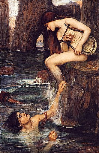 Sailors' superstitions - The Siren, by John William Waterhouse (circa 1900), depicted as a fish-chimera.