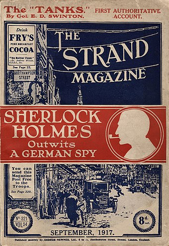 1917 cover of The Strand Magazine, containing a morale-boosting story from Doyle The Strand Magazine (cover), vol. 65, no. 321, September 1917.jpg