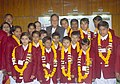 The Union Minister for Youth Affairs and Sports, Shri Sunil Dutt with the children who won National Bravery Awards in New Delhi on January 20, 2005.jpg