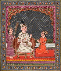 The blind king Dhrtarastra listens as the visionary narrator Sanjaya relates the events of the battle between the Kaurava and the Pandava clans.jpg