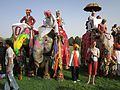 The elephant festival.This festival is enjoyed by hundreds of tourists from India as well as from abroad. Most of the participants in the Elephant Festival in Jaipur are the female elephants. - panoramio.jpg