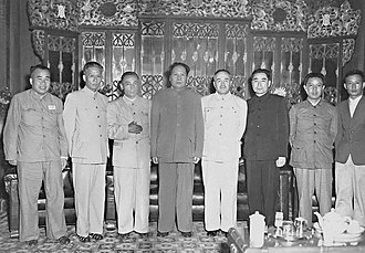 Burhan Shahidi - Gathering of Chinese Communist leaders in Beijing in June 1950.  From left Zhu De, Liu Shaoqi, Saifuddin Azizi, Mao Zedong, Burhan Shahidi, Zhou Enlai, Deng Liqun and Delin (Sibo translator of Saifuddin).