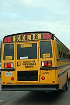 Ontario school bus equipped with an all-red eight-lamp warning light system.