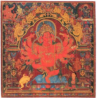 """Dancing Ganesh. Central Tibet. Early fifteenth century. Colours on cotton. Height: 68 centimetres"". This form is also known as Maharakta (""The Great Red One""). TibetianGanpati.jpg"