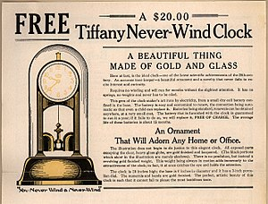 "James Van Inwagen - Ad for ""Tiffany Never-Wind Clock"", 1919"