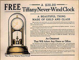 """James Van Inwagen - Ad for """"Tiffany Never-Wind Clock"""", 1919"""