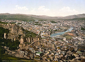 History of Tbilisi - The old city of Tbilisi and the ancient Narikala fortress, view ca. 1890-1900