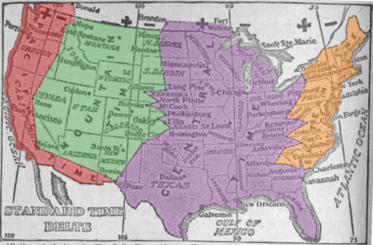 1913 time zone map of the United States, showing boundaries very different from today Time zone map of the United States 1913 (colorized).png