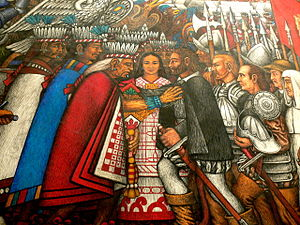 Spanish conquest of the Aztec Empire - Palacio de Gobierno, Tlaxcala city: Murals – Discussions between Tlaxcalans and Hernán Cortés