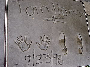 Tom Hanks - Hanks' cement prints in front of the Grauman's Chinese Theatre in Hollywood