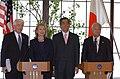 Tom J Donohue Hillary Rodham Clinton Takeaki Matsumoto and Hiromasa Yonekura 20110417.jpg