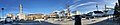 Torget town square in Leirvik on Stord Island, Norway. Sparebanken Vest, Narvesen, Borggata, etc. Distorted, compressed panorama 2018-03-10.jpg