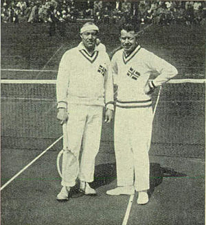 Norway Davis Cup team - Torleif Torkildsen (left) and Jack Nielsen (right) the first ever Norwegian Davis Cup line-up