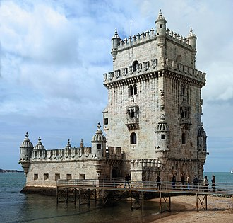 Belém Tower - The iconic quarter façade of the Tower of Belém on the bank of the Tagus River