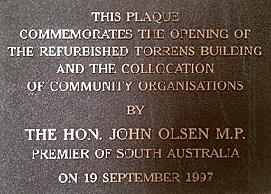 Torrens Building - Image of plaque commemorating the 1997 reopening of the Torrens Building, Adelaide, South Australia