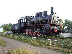 Nyandomsky District - Steam locomotive in Nyandoma, Nyandomsky District