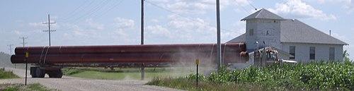 Truck Hauling 36-inch Pipe To Build Keystone XL Pipeline