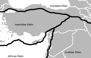Geology of Turkey - plate tectonics in Turkey: there are geologic faults around the Anatolian Plate, the African Plate, the Arabian Plate, and the Eurasian Plate.